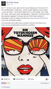 Facebook-Ankündigung der Hosen zur Single Wannsee