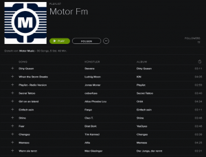 Die Spotify Playlist des Musiklabels motor