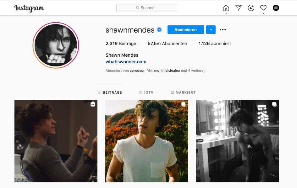 Shawn Mendes - über 57 Millionen Follower auf Instagram
